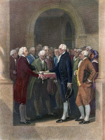 0010966 © Granger - Historical Picture ArchiveWASHINGTON: INAUGURATION.   The inauguration of George Washington as the first president of the United States at Federal Hall, New York City, 30 April 1789. Coloured engraving, 19th century.