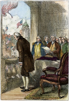 0011283 © Granger - Historical Picture ArchiveWASHINGTON: INAUGURATION.   George Washington bowing to the crowd outside Federal Hall in New York City after being sworn in as the first president of the United States, 30 April 1789. Wood engraving, 19th century.