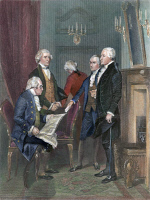 0011290 © Granger - Historical Picture ArchiveGEORGE WASHINGTON   (1732-1799). First President of the United States. Depicted with his Cabinet. Left to right: Henry Knox, Thomas Jefferson, Edmund Randolph, Alexander Hamilton, and Washington. Engraving after a painting by Alonzo Chappel, 1858.