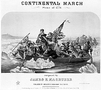 0014508 © Granger - Historical Picture ArchiveCROSSING THE DELAWARE.   'Washington Crossing the Delaware.' General George Washington leading his troop across the Delaware River during the American Revolutionary War, 1776. Lithograph sheet music cover, 1861.