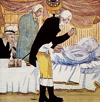 0027426 © Granger - Historical Picture ArchiveGEORGE WASHINGTON   (1732-1799). 1st President of the United States. George Washington on his deathbed. Engraving, early 19th century.