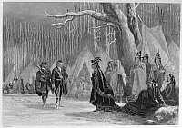 0055148 © Granger - Historical Picture ArchiveGEORGE WASHINGTON   (1732-1799). First President of the United States. Major George Washington and his guide, Christopher Gist, call on Alliquippa, Queen of the Seneca Native Americans, in present-day western Pennsylvania, December 1753. Steel engraving, 1856, by John Rogers after John McNevin.