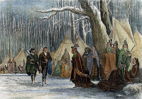 0055149 © Granger - Historical Picture ArchiveGEORGE WASHINGTON   (1732-1799). First President of the United States. Major George Washington and his guide, Christopher Gist, call on Alliquippa, Queen of the Seneca Native Americans, in present-day western Pennsylvania, December 1753. Steel engraving, 1856, by John Rogers after John McNevin.