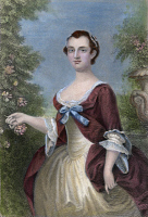 0056587 © Granger - Historical Picture ArchiveMARTHA WASHINGTON   (1732-1801). Wife of George Washington. Steel engraving, 19th century, after the painting, 1757, by John Wollaston.
