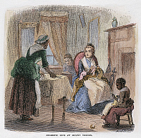 0057731 © Granger - Historical Picture ArchiveMARTHA WASHINGTON   (1732-1801). Mrs. George Washington. Mrs. Washington knitting in her room at Mount Vernon, while a house slave cuts cloth for winter clothing for slaves. Wood engraving, American, 19th century.