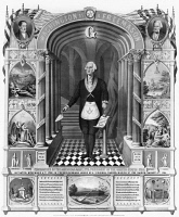 0059566 © Granger - Historical Picture ArchiveGEORGE WASHINGTON   (1732-1799). First President of the United States. Washington as a Freemason in masonic attire, holding scroll and trowel with portraits of Lafayette and Andrew Jackson as well as biblical scenes. Lithograph, 1867.