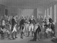0061281 © Granger - Historical Picture ArchiveGEORGE WASHINGTON   (1732-1799). 1st President of the United States. Washington's farewell to his officers at Fraunces Tavern in New York City on 4 December 1783. Steel engraving, 19th century.