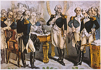 0061771 © Granger - Historical Picture ArchiveWASHINGTON TAKING LEAVE.   George Washington bids farewell to his generals at Fraunces Tavern in New York City, 4 December 1783. Lithograph, 1848, by Nathaniel Currier.