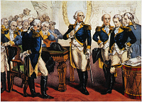 0061772 © Granger - Historical Picture ArchiveWASHINGTON'S FAREWELL.   George Washington bids farewell to his generals at Fraunces Tavern in New York City, 4 December 1783. Lithograph, 1876, by Currier & Ives. Altered version shows Washington without a drink in hand in deference to the temperance movement.