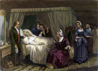 0062153 © Granger - Historical Picture ArchiveGEORGE WASHINGTON   (1732-1799). George Washington's Death Bed: mezzotint after T.H. Matteson, 1846.
