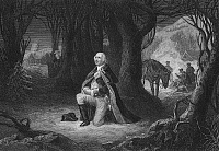0062168 © Granger - Historical Picture ArchiveGEORGE WASHINGTON   (1732-1799). First President of the United States. Washington's prayer at Valley Forge in the winter of 1777. Steel engraving, 19th century, by John C. McRae.