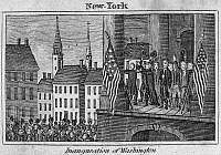 0062187 © Granger - Historical Picture ArchiveWASHINGTON: INAUGURATION.   The inauguration of George Washington as the first President of the United States at Federal Hall, New York, 30 April 1789. Copper engraving, American, 1829.