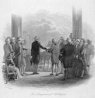 0062191 © Granger - Historical Picture ArchiveWASHINGTON: INAUGURATION.   The inauguration of George Washington as the first President of the United States at Federal Hall, New York, 30 April 1789. Steel engraving, 1860.