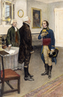 0067078 © Granger - Historical Picture ArchiveCITIZEN GENÉT, 1793.   Secretary of State Thomas Jefferson presenting the French minister, Edmond Charles 'Citizen' Genét, to President George Washington in 1793. Illustration by Howard Pyle (1853-1911).