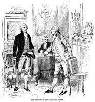 0072566 © Granger - Historical Picture ArchiveJEFFERSON & GENET, 1793.   The meeting of U.S. Secretary of State Thomas Jefferson (left) and Citizen Genet, the newly appointed French minister to the United States, at Philadelphia, 7 July 1793. Engraving, c1880.