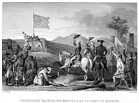 0077613 © Granger - Historical Picture ArchiveFORT DUQUESNE, 1758.   Colonel George Washington (center) of the Virginia militia raising his hat to the British flag over Fort Duquesne (rebuilt as Fort Pitt) in November 1758. Steel engraving, American, 19th century.