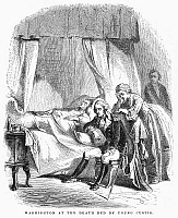 0089752 © Granger - Historical Picture ArchiveGEORGE WASHINGTON   (1732-1799). First President of the United States. Washington at the deathbed of his stepson, John Parke Custis, who served as his aide-de-camp at Yorktown and who died after contracting camp fever, 5 November 1781. Wood engraving, 19th century.