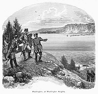 0089753 © Granger - Historical Picture ArchiveGEORGE WASHINGTON   (1732-1799). First President of the United States. Washington surveying British forces from a vantage point in northern Manhattan (presently Washington Heights) before the Battle of Long Island, August 1776. Wood engraving, 19th century.