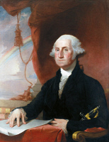 0104967 © Granger - Historical Picture ArchiveGEORGE WASHINGTON   (1732-1799). First President of the United States. Oil on canvas by Gilbert Stuart, 1822.