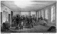 0113565 © Granger - Historical Picture ArchiveGEORGE WASHINGTON   (1732-1799). 1st President of the United States. Washington's farewell to his officers in the dining room at Fraunces Tavern in New York City, 4 December 1783. Lithograph, American, 1857.