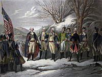 0122525 © Granger - Historical Picture ArchiveWASHINGTON & GENERALS.   'The Heroes of the Revolution.' Left to right: General George Washington and officers Johann De Kalb, Baron von Steuben, Kazimierz Pulaski, Tadeusz Kosciuszko, Marquis de Lafayette, and John Muhlenberg, with Continental Army troops during the American Revolutionary War. Engraving by Frederick Girsch, c1870.