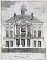 0124470 © Granger - Historical Picture ArchiveWASHINGTON: INAUGURATION, 1789. The inauguration of George Washington as the first president of the United States at Federal Hall, New York City, 30 April 1789. Engraving by Amos Doolittle, 1790.