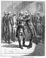 0124518 © Granger - Historical Picture ArchiveWASHINGTON'S FAREWELL.   George Washington's farewell to his officers at Fraunces Tavern in New York City, 4 December 1783. Wood engraving, 1876, after Edwin Austin Abbey.