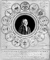 0128603 © Granger - Historical Picture ArchiveUNITED STATES, 1787.   'A Display of the United States of America.' President George Washington surrounded by the coat of arms of the 13 original states. Line engraving by Amos Doolitte, 1788.