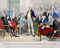 0130083 © Granger - Historical Picture ArchiveGEORGE WASHINGTON   (1732-1799). Washington appointed Commander in Chief of the Continental Army by members of the Continental Congress, 15 June 1775. Lithograph by Currier and Ives, c1876.