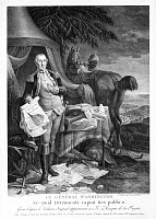 0130411 © Granger - Historical Picture ArchiveWASHINGTON AT YORKTOWN.   General George Washington at the siege of Yorktown in 1781, holding a copy of the Declaration of Independence. Contemporary French line engraving by Noel Le Mire (1724-1801).