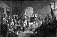 0260850 © Granger - Historical Picture ArchiveGEORGE WASHINGTON   (1732-1799). 1st President of the United States. Washington bids farewell to his generals at Fraunces Tavern in New York City on 4 December 1783. Mezzotint, c1870, by Alexander Hay Ritchie after his own painting.