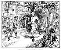 0268610 © Granger - Historical Picture ArchiveWASHINGTON: EXERCISE.   George Washington skipping the rope for exercise. Pen-and-ink drawing, American, 1888.