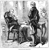 0354921 © Granger - Historical Picture ArchiveGEORGE WASHINGTON   (1732-1799). First President of the United States. Washington (left) with the Marquis de Lafayette during the American Revolution, 1777. Wood engraving, American, 1887.