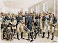 0621962 © Granger - Historical Picture ArchiveWASHINGTON: FAREWELL, 1783.   George Washington taking leave of his officers in Fraunces Tavern in New York City, 4 December 1783. Chromolithograph illustration by Henry Alexander Ogden, c1893.