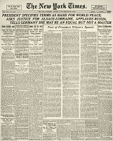0015736 © Granger - Historical Picture ArchiveWOODROW WILSON HEADLINE.   The front page of the New York Times with the complete text of President Woodrow Wilson's message to Congress containing his Fourteen Points for the settlement of the First World War, 8 January 1918.