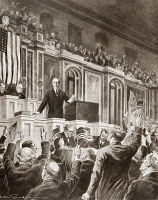 0408937 © Granger - Historical Picture ArchiveWOODROW WILSON   (1856-1924). President Woodrow Wilson before Congress, 2 April 1917, recommending a declaration of state of war between the United States and Germany. Illustration by Victor Perard, 1917.