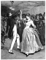 0065043 © Granger - Historical Picture ArchiveHARDY: CASTERBRIDGE, 1886.   'Farfrae was footing a quaint little dance with Elizabeth Jane.' Engraving after Robert Barnes for Thomas Hardy's 'The Mayor of Casterbridge,' 1886.