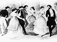 0073790 © Granger - Historical Picture ArchivePOLKA DANCING, 1848.   American couples dancing the polka with gusto in 1848 to show their sympathies with the revolutionists in Europe. Contemporary print.