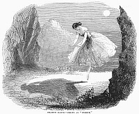 0093744 © Granger - Historical Picture ArchiveBALLET: ONDINE, 1843.   Shadow dance from a performance of 'Ondine,' choreographed by Jules Perrot with music by Cesare Pugni. Fanny Cerrito in the title role. English wood engraving, 1843.