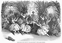 0093747 © Granger - Historical Picture ArchiveBALLET: LES QUATRE SAISONS.   Scene from 'Les Quatre Saisons,' choreographed by Jules Perrot and with music by Cesare Pugni. From a performance at Her Majesty's Theater, London, England. Wood engraving from an English newspaper, 1848.