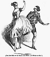 0093974 © Granger - Historical Picture ArchiveTHE FAIR MAID OF GHENT.   Scene from the ballet, 'The Fair Maid of Ghent.' Wood engraving, 1845.