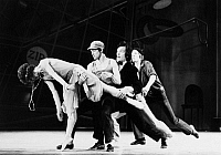 0128696 © Granger - Historical Picture ArchiveBALLET: FILLING STATION.   Left to right: Paula Tracy, Gardner Carlson, Vane Vest, and Anton Ness performing in a San Francisco Ballet production of 'Filling Station,' choreographed by Lew Chritensen, c1972.