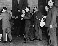 0172582 © Granger - Historical Picture ArchiveNEW YORK: DANCE HALL, 1941.   Military men and women dancing to the Knickerbocker Dance Band at a club in Fort Hamilton, Brooklyn, New York. Photograph, 1941.