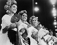 0172612 © Granger - Historical Picture ArchiveMEXICAN FOLK DANCE, c1970.   Left to right: Marcia Elena, Martha Garcia and Yolanda Huerta of the Ballet Folklorico de Amalia Hernandez, peforming in 'Fiesta in Veracruz,' c1970.