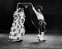 0172616 © Granger - Historical Picture ArchiveMEXICAN FOLK DANCERS, c1965.   Mercedes Losza and Humberto Trevino of Ballet Folklorico de Mexico, perform a handkerchief courting dance from the folk ballet, 'Chiapas,' c1965.