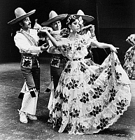 0172617 © Granger - Historical Picture ArchiveMEXICAN FOLK DANCE, c1965.   Mercedes Losza (center) in a scene from the folk ballet, 'Chiapas,' by the Ballet Folklorico de Mexico, c1965.