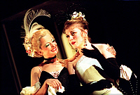 0377982 © Granger - Historical Picture ArchiveDANCE.    Johann Strauss' opera 'Die Fledermaus,' Glyndebourne Opera production, directed by Stephen Lawless. With Renee Schuttengruber (left) as Ida Lyubov Petrova as Adele. Opens week starting 21st July 2003. Full credit: Laurie Lewis / Lebrecht Music & Arts / Granger, NYC -- All rights reserved.