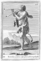 0005541 © Granger - Historical Picture ArchiveDOUBLE AULOS.   Man playing a double aulos, an ancient reed instrument. Copper engraving, 1723, by Arnold van Westerhout.