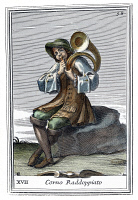 0008693 © Granger - Historical Picture ArchiveFRENCH HORN, 1723.   Copper engraving by Arnold van Westerhout, 1723.