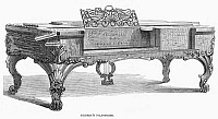 0013635 © Granger - Historical Picture ArchivePIANO, 1853.   Pianoforte manufactured by Timothy Gilbert of Boston, Massachusetts. Wood engraving, American, 1853.